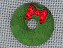 MH12055 - Matte Green Wreath & Red Bow